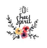 Αγροτικό πρότυπο λογότυπων με τα λουλούδια και τους κλάδους watercolor ελεύθερη απεικόνιση δικαιώματος