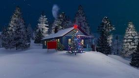 Αγροτικό σπίτι και διακοσμημένο χριστουγεννιάτικο δέντρο τη νύχτα 4K διανυσματική απεικόνιση