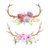 Αγροτικό σύνολο Watercolor λουλουδιών και φύλλων Στοκ Εικόνες