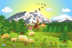Αγροτικό τοπίο βουνών Στοκ Εικόνες