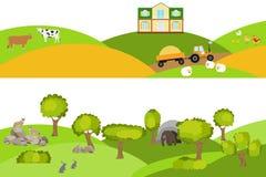 Αγροτικό τοπίο, δασικό τοπίο Τοπίο με τα ζώα και τα δέντρα διανυσματική απεικόνιση