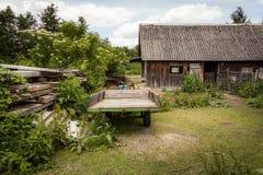 Αγροτικό τοπίο με μια ξύλινη καλύβα - Spreewald, Γερμανία Στοκ Εικόνα
