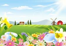 Αγροτικό τοπίο με τα ανθίζοντας λουλούδια στο χρόνο άνοιξη ελεύθερη απεικόνιση δικαιώματος