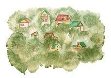 Αγροτικό τοπίο με τα σπίτια στα πράσινα δέντρα watercolor στοκ εικόνα με δικαίωμα ελεύθερης χρήσης