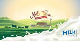 Αγροτικό τοπίο με την αγελάδα και τον παφλασμό Στοκ Εικόνες