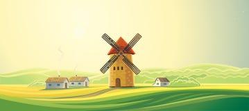 Αγροτικό τοπίο με τους ανεμόμυλους απεικόνιση αποθεμάτων