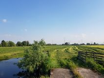 Αγροτικό τοπίο πόλντερ με μια εθνική οδό μεταξύ δύο τάφρων και λιβαδιών με τις φραγές στοκ φωτογραφία