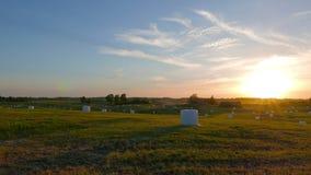 Αγροτικό τοπίο στο ηλιοβασίλεμα, τηγάνι φιλμ μικρού μήκους