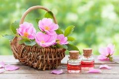 Αγροτικό ψάθινο καλάθι με τα ρόδινα λουλούδια και τα μπουκάλια ροδαλών ισχίων Στοκ εικόνες με δικαίωμα ελεύθερης χρήσης