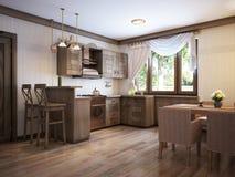 Αγροτικό ύφος κουζινών με έναν να δειπνήσει πίνακα και ξύλινα έπιπλα ελεύθερη απεικόνιση δικαιώματος