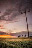 Αγροτικό landsape με το όμορφο ηλιοβασίλεμα - Σαξωνία, Γερμανία Στοκ φωτογραφία με δικαίωμα ελεύθερης χρήσης