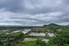 Αγρόκτημα γαρίδων απόψεων τοπίων σε Chanthaburi Ταϊλάνδη Στοκ Φωτογραφία