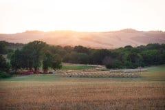 Αγρόκτημα & ηλιοβασίλεμα της Τοσκάνης στοκ εικόνα