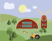 Αγρόκτημα με τα ζώα, τρακτέρ, διάνυσμα απεικόνισης γεωργίας μύλων διανυσματική απεικόνιση
