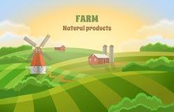 Αγρόκτημα με τους πράσινους τομείς μύλος τοπίων αγροτικός Στοκ φωτογραφία με δικαίωμα ελεύθερης χρήσης