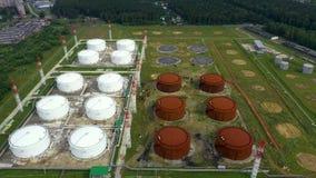 ( Αγρόκτημα πετρελαίου και δεξαμενών καυσίμων Σταθμός αποθήκευσης καυσίμων Να πετάξει προς τα εμπρός 4K απόθεμα βίντεο