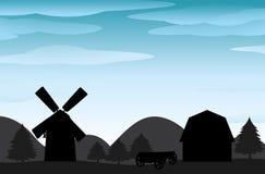 Αγρόκτημα σκιαγραφιών Στοκ φωτογραφίες με δικαίωμα ελεύθερης χρήσης