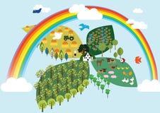 Αγρόκτημα στον ουρανό Στοκ εικόνα με δικαίωμα ελεύθερης χρήσης