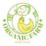 Αγρόκτημα logotype με τη γυναίκα και το κοτόπουλο Στοκ φωτογραφία με δικαίωμα ελεύθερης χρήσης