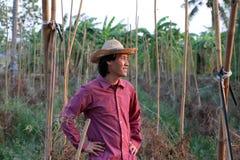 Αγρότης ατόμων που στέκεται μπροστά από τη φυτική πλοκή και που φορά έ στοκ εικόνες με δικαίωμα ελεύθερης χρήσης