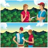 Αγρότης γυναικών και ανδρών στη διανυσματική απεικόνιση τομέων καφέ Στοκ φωτογραφία με δικαίωμα ελεύθερης χρήσης
