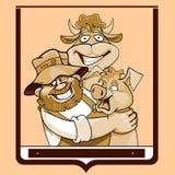 Αγρότης κινούμενων σχεδίων με μια αγελάδα και ένας χοίρος σε ένα πλαίσιο διανυσματική απεικόνιση