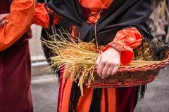 Αγρότης με το καλάθι του σιταριού Στοκ εικόνες με δικαίωμα ελεύθερης χρήσης