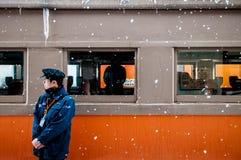 Αγωγός τραίνων του κλασικού εκλεκτής ποιότητας potbelly τραίνου σομπών, Tsugaru Στοκ Εικόνα
