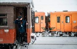 Αγωγός τραίνων του κλασικού εκλεκτής ποιότητας potbelly τραίνου σομπών, Tsugaru Στοκ φωτογραφίες με δικαίωμα ελεύθερης χρήσης