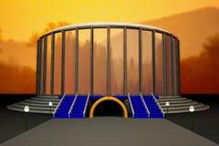 Αγωνιστικός χώρος κάτω από τον ουρανό ηλιοβασιλέματος στοκ εικόνες με δικαίωμα ελεύθερης χρήσης