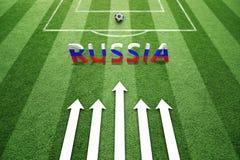Αγωνιστικός χώρος ποδοσφαίρου με τη ρωσική σημαία Στοκ Εικόνα