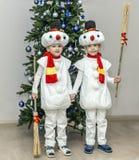 Αγόρια, δίδυμα στα κοστούμια καρναβαλιού των χιονανθρώπων Στοκ φωτογραφίες με δικαίωμα ελεύθερης χρήσης