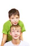 αγόρια δύο λευκό Στοκ Εικόνα