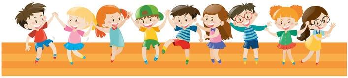 Αγόρια και κορίτσια που χορεύουν από κοινού απεικόνιση αποθεμάτων