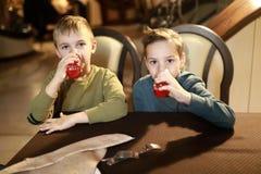 Αγόρια που πίνουν το χυμό στοκ φωτογραφία