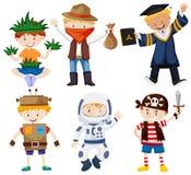 Αγόρια στα διαφορετικά κοστούμια ελεύθερη απεικόνιση δικαιώματος