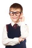 Αγόρι αγγαρείας με τα γυαλιά σε ένα λευκό στοκ φωτογραφία