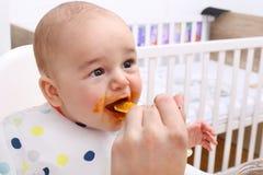 αγόρι ανασκόπησης μωρών που ταΐζει το απομονωμένο λευκό μητέρων της Στοκ Εικόνες