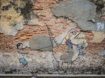 Αγόρι γκράφιτι που τραβά ένα τέρας Στοκ εικόνες με δικαίωμα ελεύθερης χρήσης