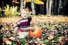 Αγόρι εκτός από την κολοκύθα που κρατά ψηλά τα φύλλα - τρύγος Στοκ Εικόνες