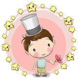 Αγόρι ευχετήριων καρτών με τα αστέρια διανυσματική απεικόνιση
