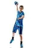 Αγόρι εφήβων φορέων χάντμπολ που απομονώνεται Στοκ Εικόνες