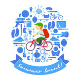 Αγόρι θερινών διακοπών στο ποδήλατο Στοκ Εικόνες