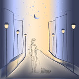 Αγόρι και ένα σκυλί στην πόλη νύχτας ελεύθερη απεικόνιση δικαιώματος