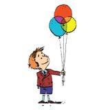 Αγόρι και ζωηρόχρωμα μπαλόνια Στοκ φωτογραφίες με δικαίωμα ελεύθερης χρήσης