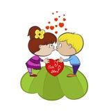 Αγόρι και κορίτσι ερωτευμένα απεικόνιση αποθεμάτων