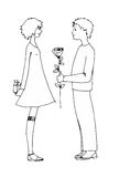 Αγόρι και κορίτσι εφήβων αγάπης Στοκ Φωτογραφία