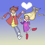 Αγόρι και κορίτσι κινούμενων σχεδίων που χορεύουν στον ουρανό με την καρδιά σύννεφων Στοκ εικόνες με δικαίωμα ελεύθερης χρήσης