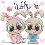 Αγόρι και κορίτσι κουνελιών σε ένα υπόβαθρο καρδιών Στοκ εικόνα με δικαίωμα ελεύθερης χρήσης