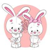 Αγόρι και κορίτσι κουνελιών διανυσματική απεικόνιση